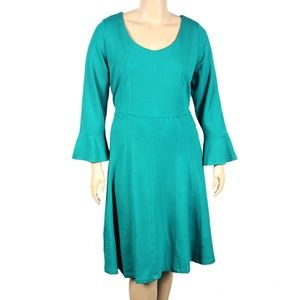 ELOQUII Sea Green Flared Sleeve Dress
